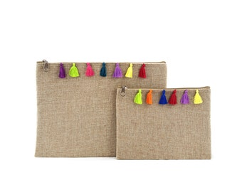 Set of two kits with PomPoms (tassels) Chouchaoua - style burlap - colored PomPoms (colorful tassels) fabric