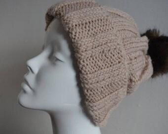 Oatmeal handknit beanie -  pom pom hat - ribbed hat - slouchy hat - slouchy beanie - READY TO SHIP