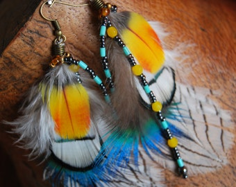 Earrings 0reilles natural feathers of Peacock and pheasant - Unique Piece-