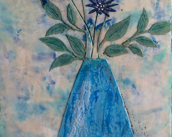 10 x 20 Flowers of Blue Original Encaustic Painting