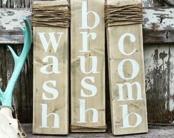 Wash Brush Comb Farmhouse Decor | Rustic Bathroom Decor | Soak Wash Relax |  Cottage Home