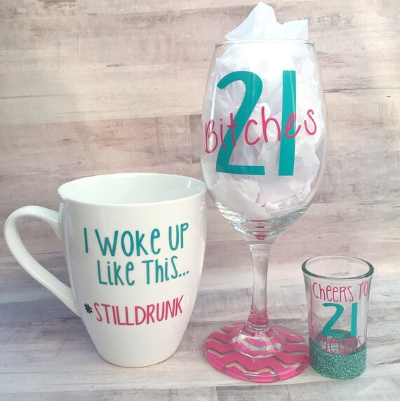 21st Birthday Wine Glass Coffee Mug & Shot Glass 3pc Set