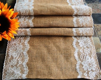 "14"" wide Burlap and Lace Table Runner, Ivory or White Lace Edges, Rustic Wedding, Holiday Table Runner, Rustic Table Runner"