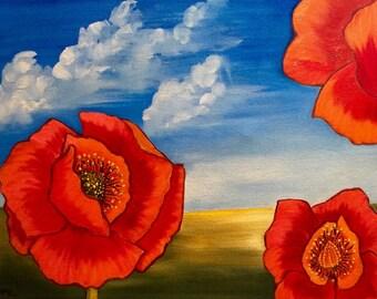 Three Red Poppies (Desert Poppies), Original Art, Poppy Oil Painting, Poppy Art, Poppy Field, Original Oil Painting, Red Poppies, Home Decor
