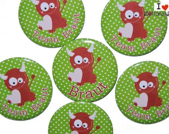 10 x JGA buttons hen party Devil Monster sweet