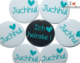 10 x JGA buttons hen party heart