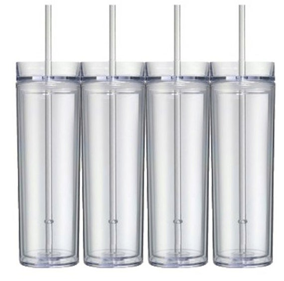 Set Of 4 Blank Tall Skinny Tumblers Ready By