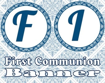 First Communion Banner- INSTANT DOWNLOAD
