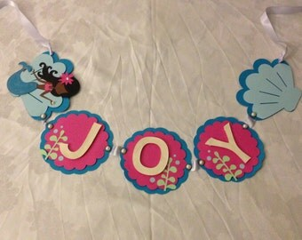 Mermaid  Under the Sea Name Birthday Party Banner