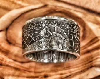 Lamb of God Pure Silver Ring - Hand Forged Coin Ring
