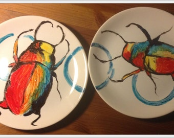 Beetles Ate It - hand-painted set of 2 dinner plates