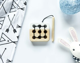 Wooden lacing toy, Educational toy, Toddler gift, Baby gift, White