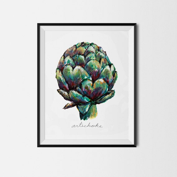 Artichoke print vegetable print art for kitchen by for Artichoke decoration