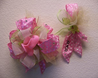 Mom and Dad To Be Ribbon Corsage Set