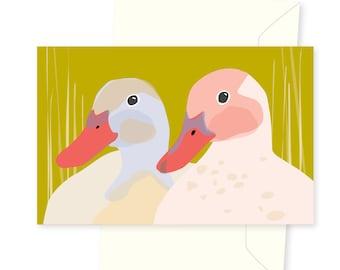 Two Ducks greeting card / gold green quack cute friendly smile engagement wedding birthday greetings