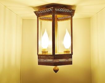 Rustic brass ceiling lantern