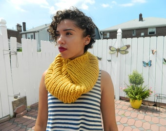 Yellow Knitted Cowl Scarf