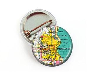 Milwaukee Map Pin Button 1.25 Inch Diameter