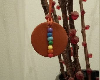 Chakra Circle and Square Charm Necklace on Hemp String Polymer Clay Hand Knead