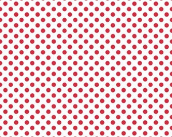 Riley Blake Designs Basic Dot Small White with Red  Fabric C480-80