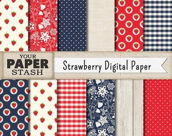 Strawberry Digital Paper, Berry Scrapbook Paper with Wood Background, Gingham Patterns, Polka Dot, Red & Blue, Commercial Use, Planner Paper