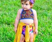 9-24 Months, Baby Crop Top, Tutu Crop Top, Baby Skirt, Hippie Baby Top, Baby Organic Bikini, Baby Swim, Bohemian Baby Shower, Mandala Baby