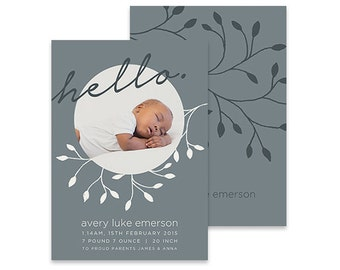 Printable Baby Announcement   The Natural   Printable DIY Baby Card Thank You Photo Card, New Baby, Hello Little One