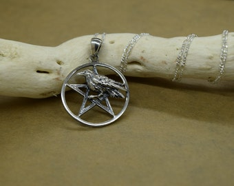 Sterling Silver Raven Pentagram Pendant with Chain