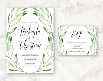 Printable Wedding Invitation - Watercolor Olive Branches - Greenery - Olive Branch Frame - Floral - Nature - DIY Printing