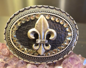 Fleur De Lis Belt Buckle, Black Leather, Silver Tone, Ornate Detail, Fashion Buckle, Detailed Accessories, Trendy, Boho, Crystal Detail