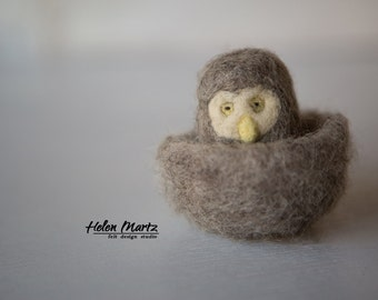 Needle Felted Owlet With Nest, Fiber Art,  Felted Animal, Eco Wool Hand Felted Toy, Wool Felt Animal, Collectible Toy, Needle Felted Animal
