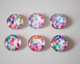 FREE SHIPPING AUS - Bright Coloured Speckle Print Glass Magnets - Super Strong - 6 Piece Magnet Set - Office Accessrories - Birthday Gifts