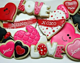 Valentine Decorated Sugar Cookies
