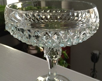 Cut glass pedestal bowl