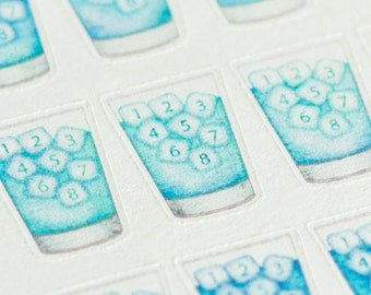 Hydrate ~ Daily Water Tracker / Hydration Watercolor Planner Stickers (Inkwell Press, Erin Condren, Plum Paper, Fliofax, Kikki K, Happy)