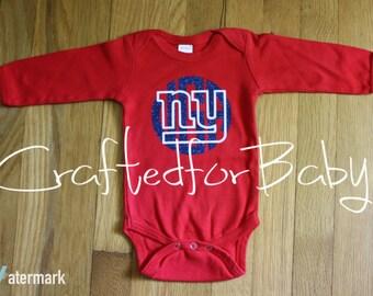 New York Giants Monogram Red Onesie Bodysuit