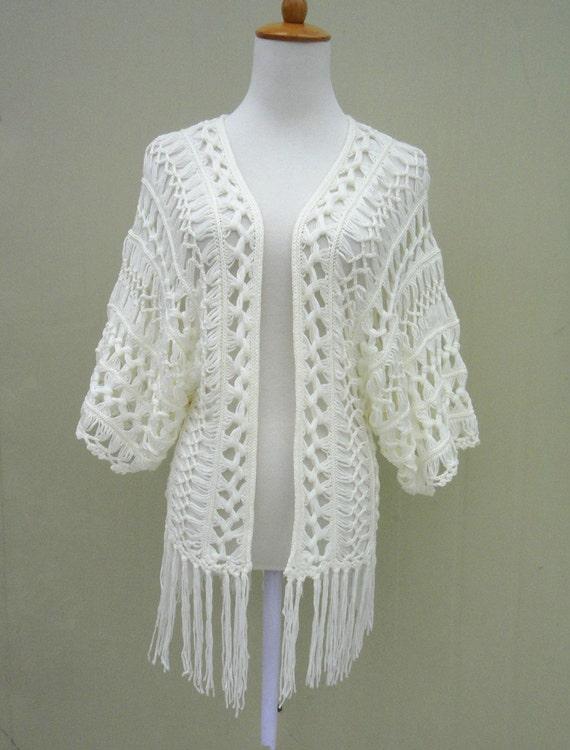 Book Cover Crochet Jacket ~ Fringe crochet beach cover ups kimono cardigan