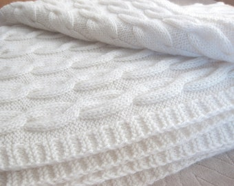 Cable Hand Knit Blanket