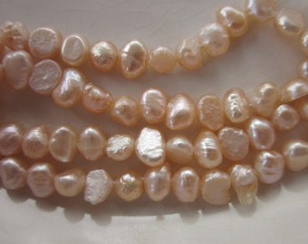 "Pale Peachy-Pink Freshwater Pearls, 6mm x 4mm Flattish Nugget, 14.5"" Strand"