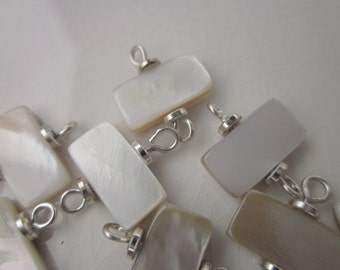 12 White Mother of Pearl Rectangles on Sterling Wire Connectors