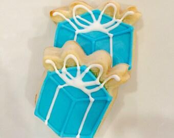 "One Dozen ""Tiffany's Box"" Bridal/Wedding Cookies - Decorated Shortbread Cookies -"