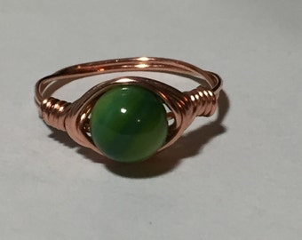 Wire wrapped Green stone Ring