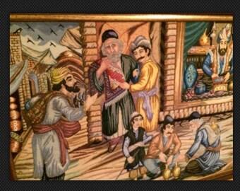 Middle eastern hand made carpet framed