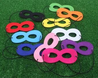 Party Pack 10 masks - Solid Superhero Mask, Felt mask, Children Superhero Masks, custom superhero mask, kids superhero mask, kid party favor