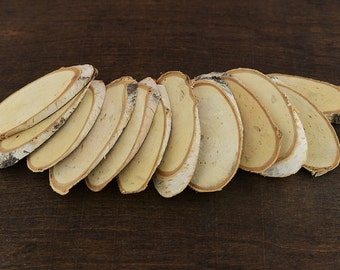 "25 Oval Birch Wood Slices, Oval Natural Birch Wood Slices, 8 - 13cm or 3""- 5"" long, Oval Birch Wood"