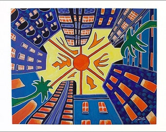 Trippy Original Miami Painting, Miami Fine Art, Miami 1969