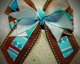 Brown and teal hair bow