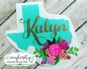 Personalized Floral Texas Decal   Texas Yeti Decal   Texas Car Decal   ALL STATES AVAILABLE