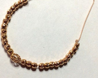 Necklace in vermeil beads pink