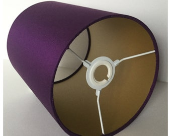 Purple Crushed Silk & Gold Lined Lampshade,  Lightshade, Table Lamp, Various Sizes